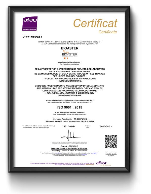 Bioaster - certificat ISO