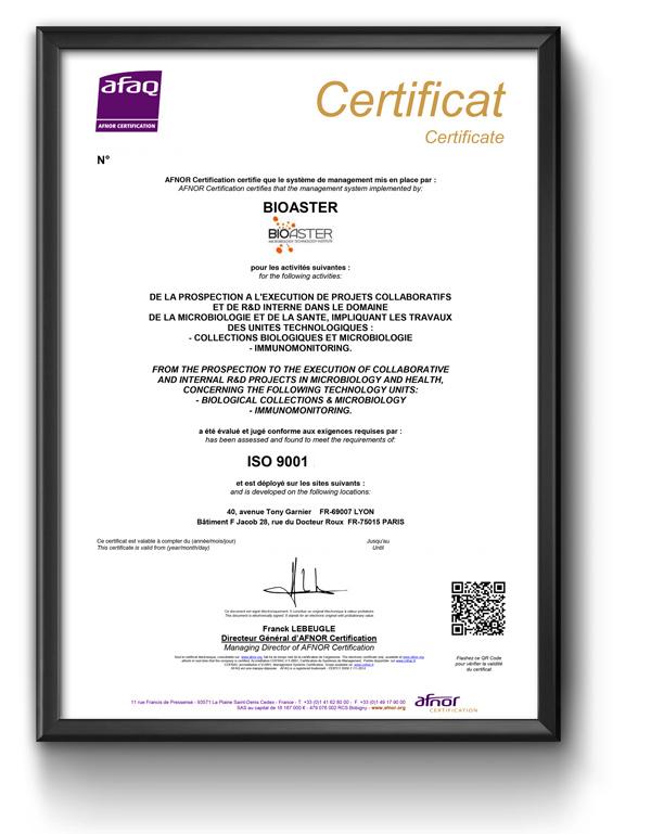 Certificat ISO 9001 - Bioaster